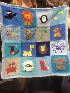 Finished my labour of love for new nephew Cody! Born Australia Day Jan 26, its busy with furry cuteness! No pattern, just made the lot up as I went, using some odd ends of yarn in the process Sweet lion bat penguin fish dog hippo elephant kangaroo snake spider owl crab sheep giraffe fox monkey animal crochet baby blanket