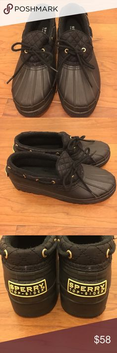 Sperry Top-Sider black duck shoe Excellent used condition, black with gold accents. They have barely any ware on the soles! Perfect for a rainy day. The inside has slight pilling around the heel, but overall they really look pretty new. Sperry Top-Sider Shoes