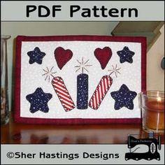 Download Patriotic Mug Rug - Patriotic Mini Quilt Sewing Pattern   Sheryl Hastings   YouCanMakeThis.com