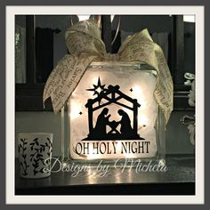 Christmas Oh Holy Night Lighted Glass (8 inch) Block - GF016 - Designs by Michela
