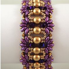 Regal Hand Beaded bracelet in Purple and by ChainedByLightness