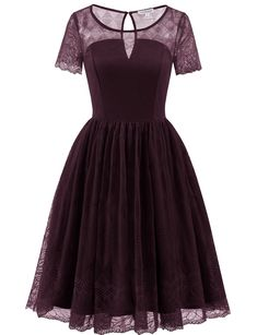 Gardenwed Vintage Floral Lace Dress Cocktail Party Dress Short Bridesmaid Dress With Sleeves Burgundy M -- Examine this remarkable product by going to the web link at the image. (This is an affiliate link). #bridesmaiddresses