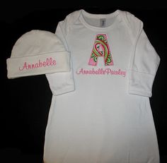 Custom Personalized Applique INITIAL and NAME Infant Gown and Hat Set - Paisley Dream - Pink and Lime Green. $36.99, via Etsy.