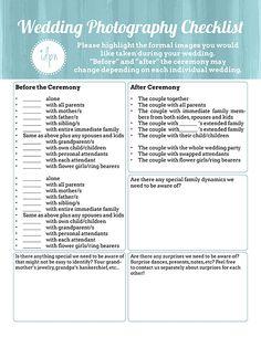 free printable realistic wedding photography checklists