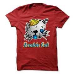 Zombie Cat T Shirts, Hoodies, Sweatshirts. GET ONE ==> https://www.sunfrog.com/Holidays/Zombie-Cat-Red.html?41382