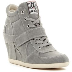 Ash Bowie Wedge Sneaker ($110) ❤ liked on Polyvore featuring shoes, sneakers, grey, suede shoes, studded lace-up wedge sneakers, gray sneakers, platform wedge sneakers and wedged sneakers