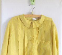 Vintage  Silk Blouse Ochre Green Gold  Size Medium 80s by vintachi, $14.99