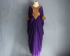 e836b3505b1 Stunning Purple Long Caftan Maxi Dress Embroidery Caftan by Yosika