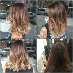 Hairpainting before and after . Sombre Balayage bob
