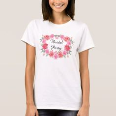 Floral bohemian bridal rose wreath T-Shirt