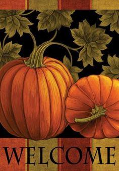 Fall Garden Flag Pumpkin Harvest