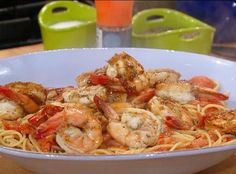 Garlic-chili shrimp & greek spagetti with feta
