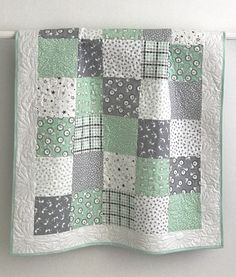 Modern Baby Boy Quilt Penned Pals Collection Green Grey White Baby Quilt This adorable patchwork bab Quilt Baby, Baby Patchwork Quilt, Baby Quilt Patterns, Baby Girl Quilts, Girls Quilts, Owl Quilts, Modern Baby Quilts, Fall Patterns, Quilting Patterns