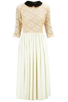 Nude pink lace pleated skirt and embroidered collars long dress available only at Pernia's Pop-Up Shop.