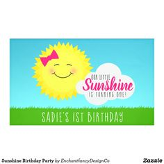 Shop Sunshine Birthday Party Banner created by EnchantfancyDesignCo. Simple First Birthday, First Birthday Banners, First Birthday Gifts, 1st Boy Birthday, Birthday Diy, Birthday Ideas, Yellow Party Themes, Sunshine Birthday Parties, Party Banners