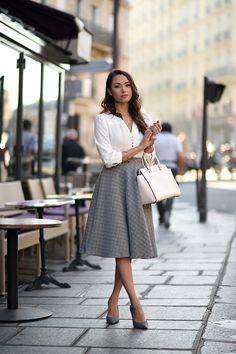 high waist gray midi skirt with white blouse