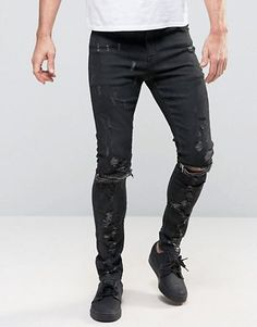 dd1129dae62 Super Skinny Jeans With Abrasions And Knee Zip Rips In Black Coating