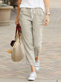 Casual Solid Color Drawstring Pants for Women Capri Pants Outfits, Linen Pants Outfit, Linen Trousers, Casual Pants, Drawstring Pants Outfit, Drawstring Waist, Casual Outfits, Linen Suit, Massimo Dutti Women