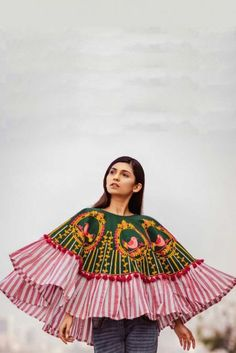 Green Embroidered And Line Print Khadi Poncho Top With Pom Pom Lace Cataloge Whatsapp :- 9377709531 Sewing Blouses, Western Tops, Fancy Tops, Poncho Tops, Stylish Tops, Bobbin Lace, Daily Wear, Bell Sleeve Top, Embroidery