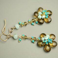 Etsy seller fussjewelry - Dangle Flower Earring Honey Quartz Turquoise Peruvian Blue Opal