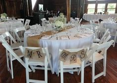 Head table rustic barn wedding Mr and Mrs Burlap Signs.  Kind of like how burlap is the table runner