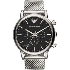 Emporio Armani Mens Luigi Black and Silver Mesh Bracelet Watch for sale online Mesh Bracelet, Bracelet Watch, Bracelet Men, Luigi, Emporio Armani Mens Watches, Stainless Steel Mesh, Luxury Watches For Men, Stylish Watches, Men Accessories