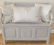 Gorgeous bench with storage painted in Annie Sloan Paris Grey