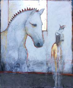 Duetto - Joan Dumouchel et Vasil Nikov - Galerie Blanche Painted Horses, Art Du Collage, Art Populaire, Illustrator, Art Et Illustration, Encaustic Art, Inspiration Art, Art Abstrait, Art Moderne