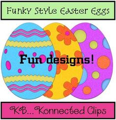 Bright! Bright! Bright! Clip art: 24 Funky Style Easter Eggs - Commercial Use Welcome  High resolution (300dpi), easily re-sizable (png) graphics that will pop off your page.