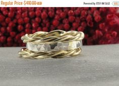 ON SALE Stackable Ring Sterling Silver & Two 14k by LIRANSHANI