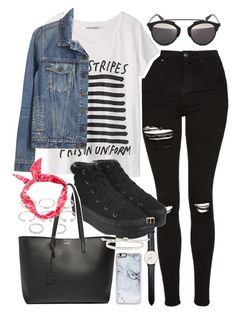 """""""Outfit with ripped jeans and a denim jacket"""" by ferned on Polyvore featuring Topshop, Proenza Schouler, Christian Dior, Opening Ceremony, Forever 21, Yves Saint Laurent, Daniel Wellington, Zero Gravity and Monica Vinader"""