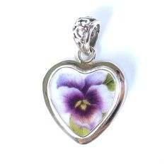 Vintage Belle - Broken China Jewelry   DESCRIPTION: Sterling Silver Small Heart Pendant PATTERN: Purple Pansy  SIZE: 1 Wide by 1.5 Tall  ITEM #: