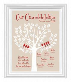 Grandchildren Family Tree with grandkid's birth dates - Personalized Grandparent Gift - Gift for Parents -Christmas Gift - other colors on Etsy, $15.00