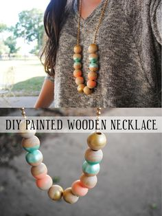swallow's heart: DIY: painted wooden necklace