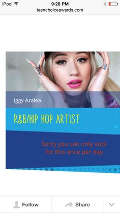Vote 4 iggy hip hop and rmb c'mon azaleans #vote4iggy #azaleans