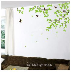 Tree wall decal wall sticker Nature room decor Birds decal wall decor wall Art Baby nursery decal mural -tree branches with birds Fabric Wall Decor, Wall Painting Decor, Mural Wall Art, Wall Art Decor, Room Decor, Tree Decal Nursery, Tree Decals, Flower Wall Decals, Baby Wall Art