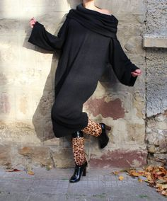 Black Wool Maxi dress,Oversized dress,  Jumper dress, Turtleneck dress, Oversized dress,Wool dress,Fall Winter dress,Casual dress