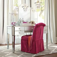 Find cute and cool girls bedroom ideas at Pottery Barn Teen. Shop your dream room with our teen room inspiration and ideas. Girls Bedroom Furniture, Teen Furniture, Furniture Vanity, Mirrored Furniture, Mirrored Desk, Bedroom Ideas, Boudoir, Up House, Vanity Set