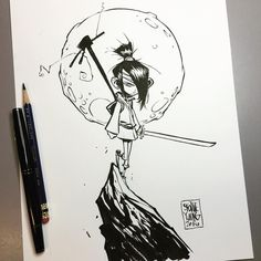 KUBO and the Two Strings. Original available http://skottieyoungstore.bigcartel.com #dailysketch #ink #sketch