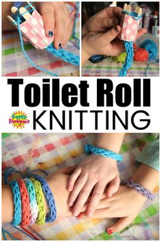 Toilet Roll Knitting - French Knitting for Kids : Toilet Roll Knitting is a fun . Toilet Roll Knitting – French Knitting for Kids : Toilet Roll Knitting is a fun … : Toilet Rol Crafts For Kids To Make, Diy Crafts For Kids, Arts And Crafts, Craft Ideas For Girls, Quick Crafts, Knitting For Kids, Knitting For Beginners, Finger Knitting Projects, Spool Knitting