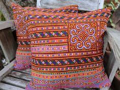 Boho Pillows Hmong Embroidered Marigold And Brick   by SiameseDreamDesign