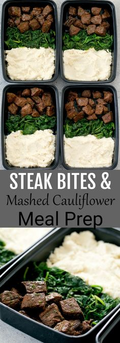 Garlic Steak Bites with Mashed Cauliflower Meal Prep. This low carb, keto-friendly steak meal is easy to prepare and perfect for meal prep.