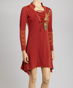 Take a look at this Coline USA Rust Lace-Tie Dress on zulily today!
