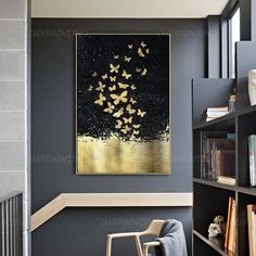 Gold Leaf and Silver leaf set of 2 wall art Abstract butterfly Paintings On Canvas original Wall pictures framed wall art cuadros abstractos Abstract butterfly GoldLeaf Painting print On Canvas ready to Abstract Canvas, Oil Painting On Canvas, Painting Frames, Painting Prints, Wall Art Prints, Painting Abstract, Black Painting, Oil Paintings, Gold Leaf Art