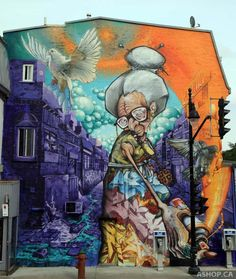 By A'SHOP at Mural Festival in Montreal, Canada. Photo by Kris Murray.