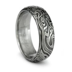 Wood Grain Ring - Damascus Steel Mens Wedding Band Four Pointed Swirling Star Pattern with Black Fire Patina Finish. Handmade Organic Wood