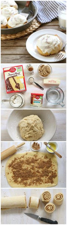 Cake Mix and Frosting Hack for super easy cinnamon rolls!