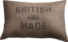 British Made jute cushion. Barbara Coupe. Made in England.