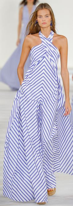 Ralph Lauren Collection Spring 2016: blue-and-white cotton broadcloth shirting striped jumpsuit