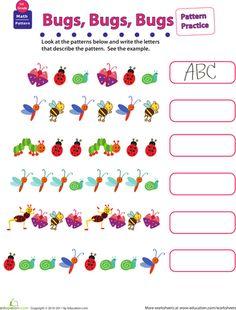 First Grade Patterns Worksheets: Practice Patterns: Bugs, Bugs, Bugs First Grade Math Worksheets, 1st Grade Math, Kindergarten Math, Teaching Math, Grade 2, Teaching Ideas, Insect Activities, Preschool Art Activities, Homeschool Math